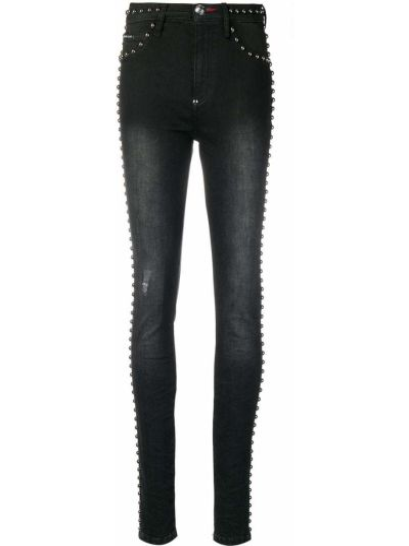 Зауженные джинсы с заниженной талией - черные Philipp Plein