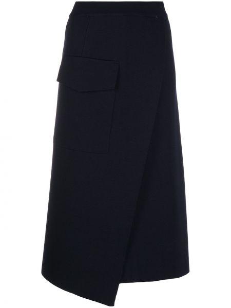 Шерстяная синяя юбка с карманами Mrz