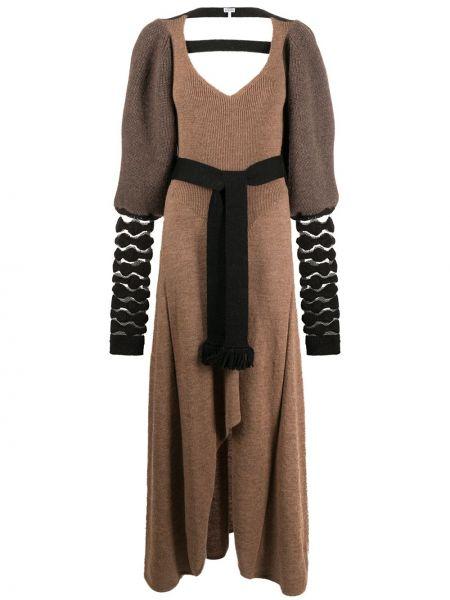 Коричневое вязаное платье макси с открытой спиной из альпаки Loewe