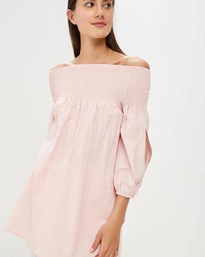Блузка с открытыми плечами розовая итальянский Perfect J