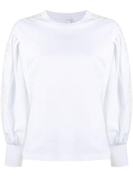 Кружевная белая блузка с вырезом Chloé