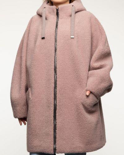 Розовое шерстяное пальто с капюшоном Aliance Fur
