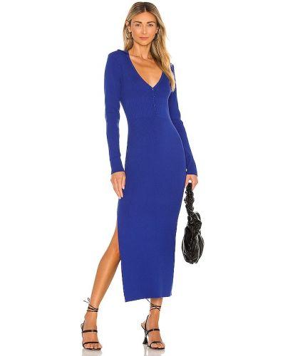 Sukienka prążkowana - niebieska Bardot