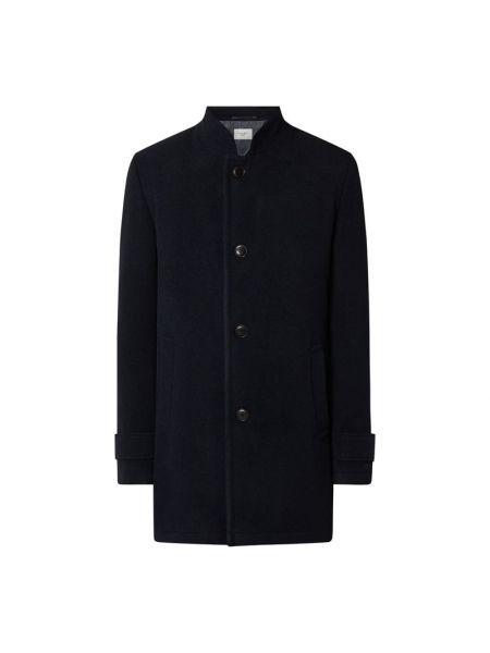 Niebieski wełniany płaszcz z kieszeniami ze stójką Carl Gross