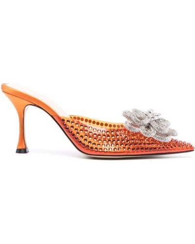 Оранжевые мюли на каблуке Mach & Mach