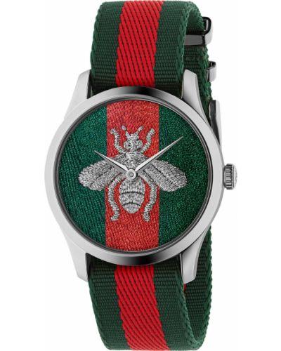 Нейлоновые зеленые с ремешком часы Gucci