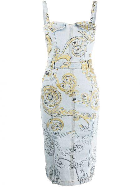 Джинсовое платье с поясом синее Versace Jeans Couture