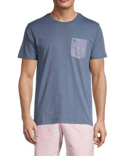 Niebieski t-shirt bawełniany z haftem Original Penguin