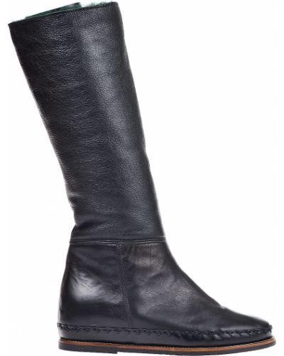 Кожаные сапоги осенние черные Pakerson