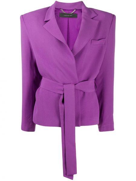 Фиолетовый удлиненный пиджак с поясом на пуговицах Federica Tosi