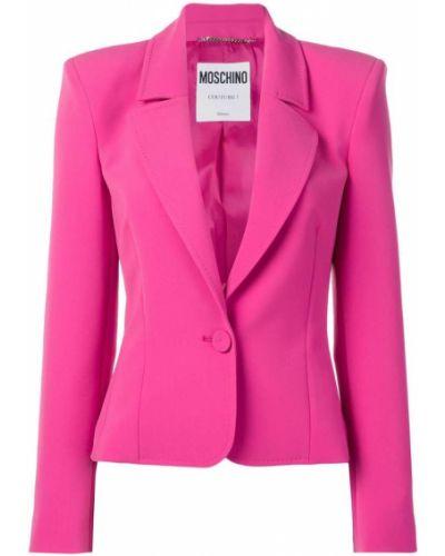 Розовый удлиненный пиджак на пуговицах Moschino