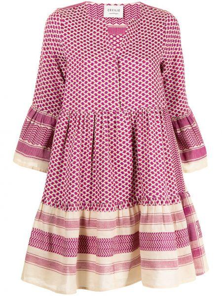Хлопковое платье мини - фиолетовое Cecilie Copenhagen