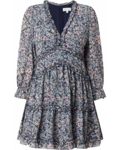 Sukienka mini rozkloszowana z falbanami z szyfonu Apricot