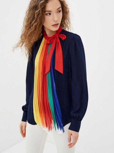 Блузка с бантом синяя United Colors Of Benetton