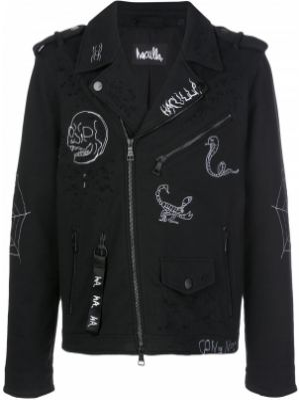 Czarna długa kurtka z haftem bawełniana Haculla