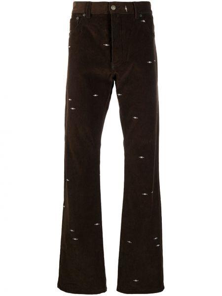 Коричневые брюки свободного кроя с вышивкой вельветовые Phipps