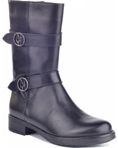 Кожаные сапоги осенние на каблуке Armani Jeans