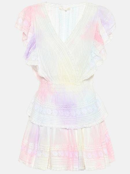 Кружевное хлопковое летнее платье с декоративной отделкой на шнурках Loveshackfancy