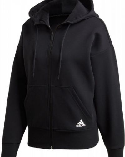 Черная толстовка на молнии с нашивками с капюшоном свободного кроя Adidas