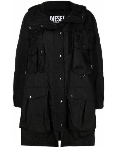 Нейлоновая черная длинная куртка с капюшоном Diesel