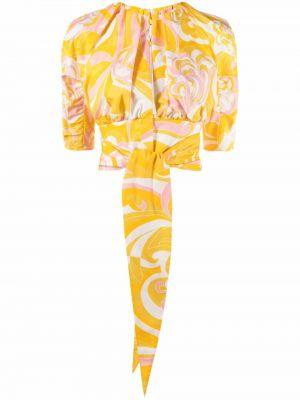 Желтая укороченная рубашка Emilio Pucci