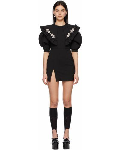Czarna sukienka mini z falbanami srebrna Shushu/tong