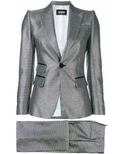 Серебряный костюмный костюм с лацканами на пуговицах Dsquared2
