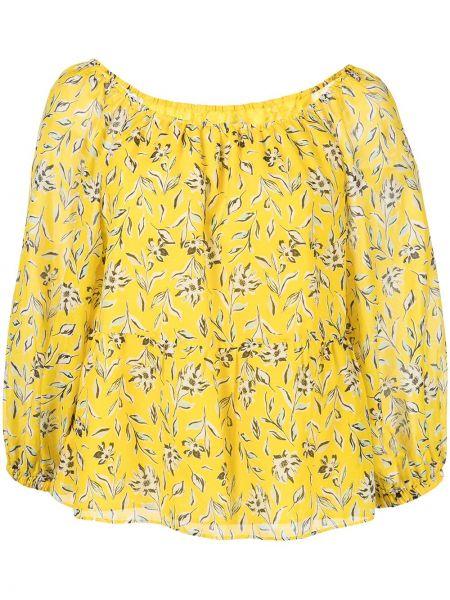 Желтая блузка с длинными рукавами с принтом Alice+olivia