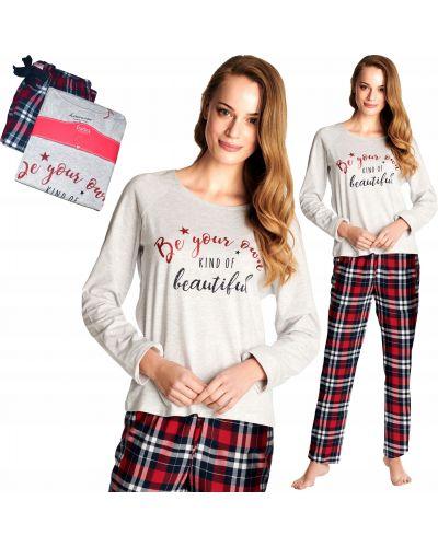 Szara piżama bawełniana z długimi rękawami Henderson