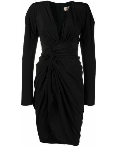 Czarna sukienka midi z falbanami z długimi rękawami Alexandre Vauthier