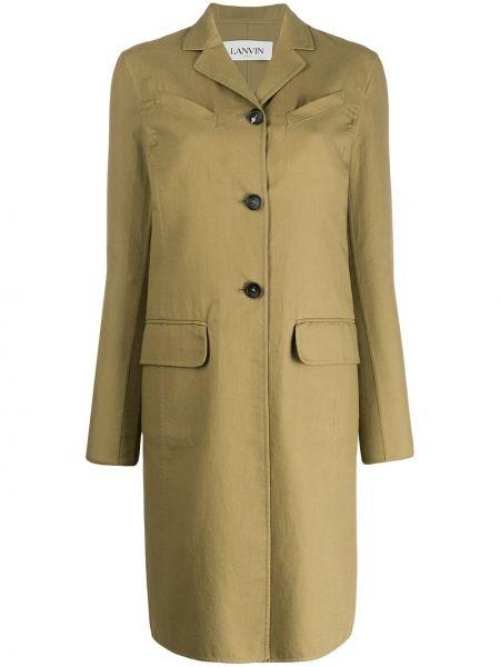 Однобортное зеленое длинное пальто с капюшоном Lanvin