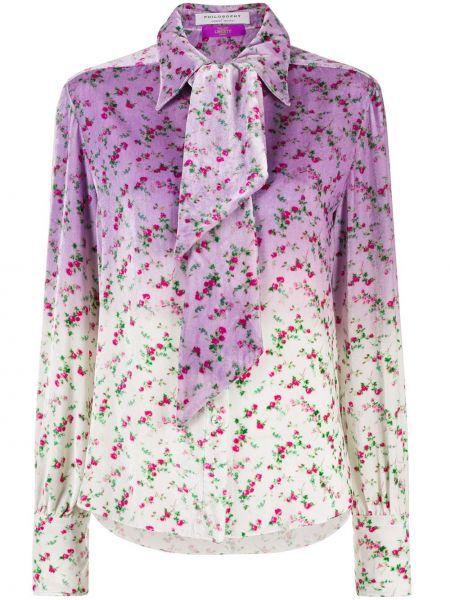 С рукавами шелковая фиолетовая блузка с длинным рукавом на пуговицах Philosophy Di Lorenzo Serafini