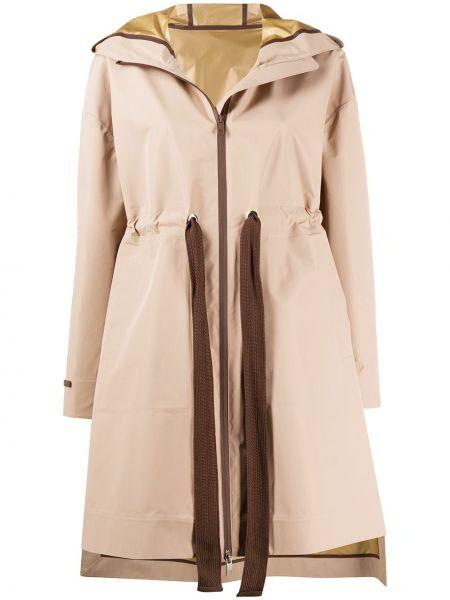 Пальто с капюшоном длинное бежевое Peserico