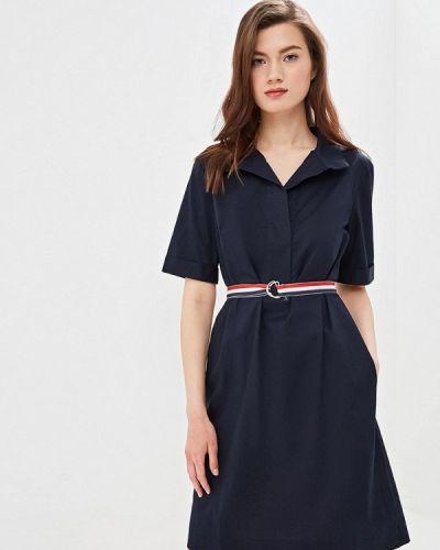 Платье прямое синее Villagi