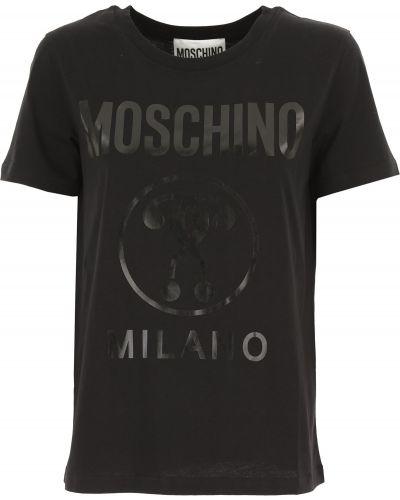 Czarny t-shirt bawełniany krótki rękaw Moschino