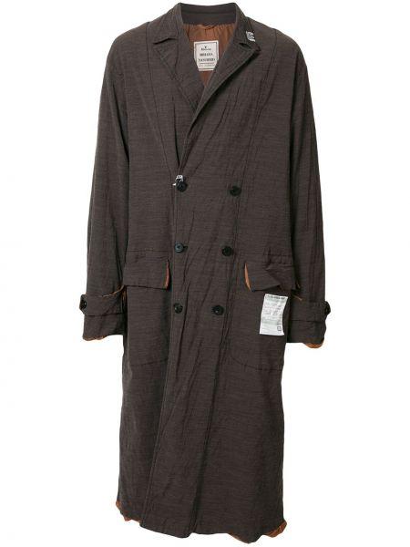 Коричневое длинное пальто на пуговицах двубортное с карманами Maison Mihara Yasuhiro