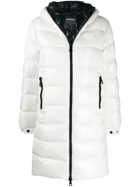 Biały płaszcz z kapturem Duvetica