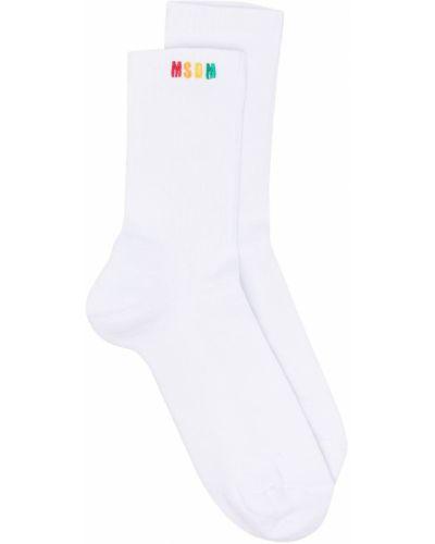 Хлопковые белые носки с вышивкой Msgm