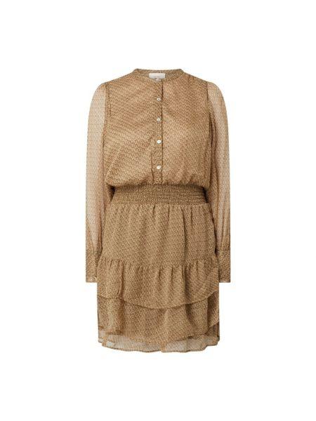 Beżowa sukienka rozkloszowana z szyfonu Neo Noir