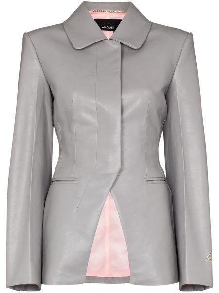 Кожаная серая кожаная куртка Anouki