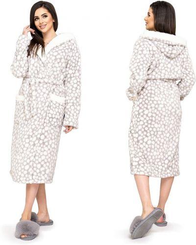 Серый теплый махровый халат Selim-tekstil