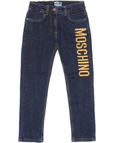 Прямые джинсы с вышивкой в полоску Moschino Kids