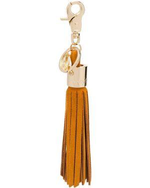 Оранжевая кожаная сумка с кисточками See By Chloé
