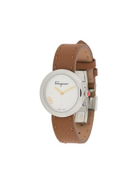 Brązowy zegarek na skórzanym pasku skórzany kwarc Salvatore Ferragamo Watches