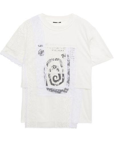 Кружевная трикотажная белая футболка Mcq Alexander Mcqueen