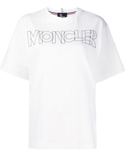 Хлопковая с рукавами белая футболка Moncler Grenoble