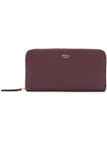 Czerwony portfel skórzany Mulberry