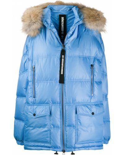 Пуховое коралловое длинное пальто с опушкой с капюшоном As65