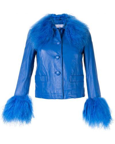 Синяя длинная куртка круглая с манжетами Saks Potts