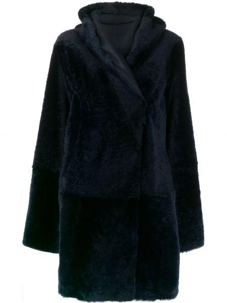 Кожаное длинное пальто с капюшоном двубортное Sylvie Schimmel